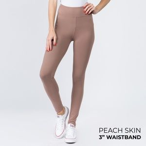 "NWT Mocha Peach Skin Leggings with 3"" Waistband"